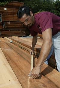 Picking lumber at J Gibson McIlvain Lumber Company