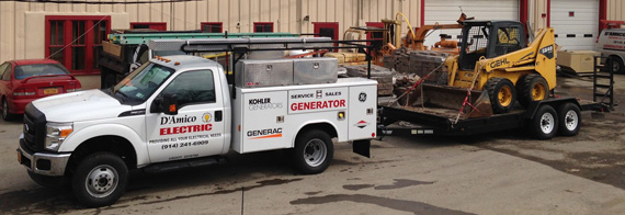 damico electric backup generator installation truck