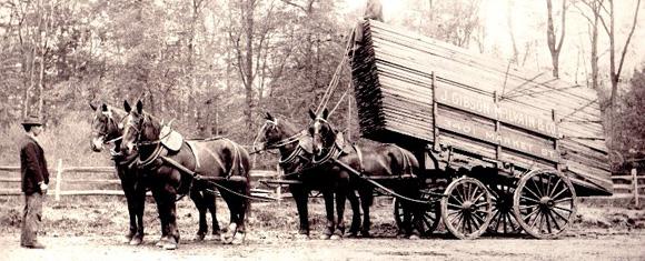 horse drawn lumber wagon j gibson mcilvain