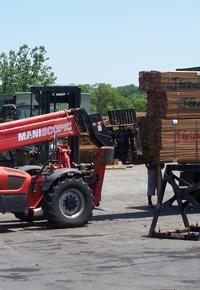 Unloading Ipe lumber at J Gibson McIlvain Lumber Company