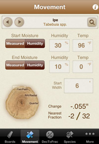 Ipe movement as forecasted by the Woodshop Widget