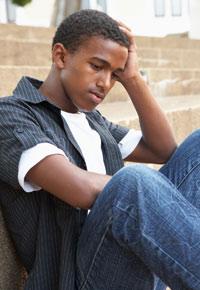 sad teenage guy