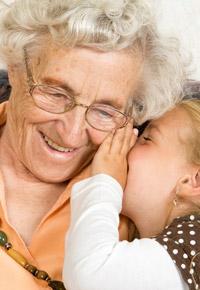 whispering to grandma