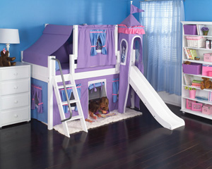 Maxtrix girls princess low loft bed with slide