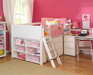 Maxtrix low loft storage bed for girls