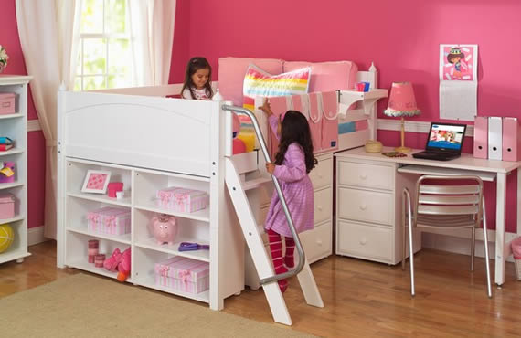 low loft storage bed by maxtrix for girls
