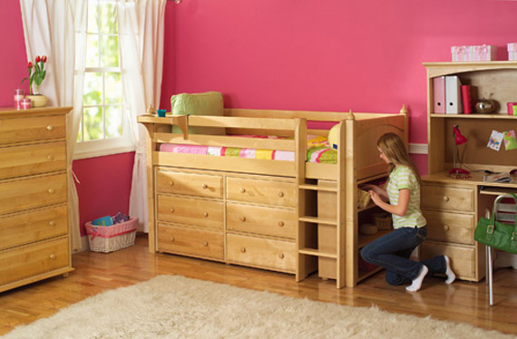 maxtrix storage loft bed with dressers