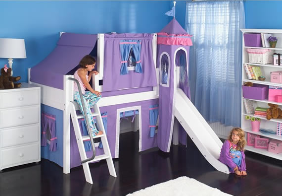girls castle bed for princesses maxtrix with slide