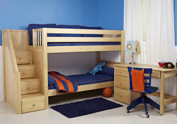 natural wood color maxtrix bunk bed with dresser stairs