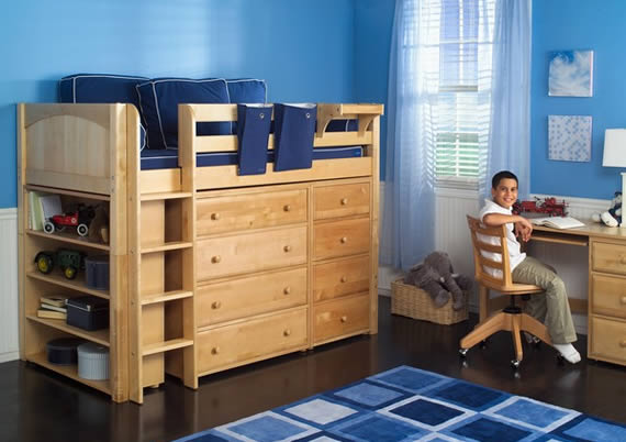 natural wood color maxtrix loft storage bed built in dressers