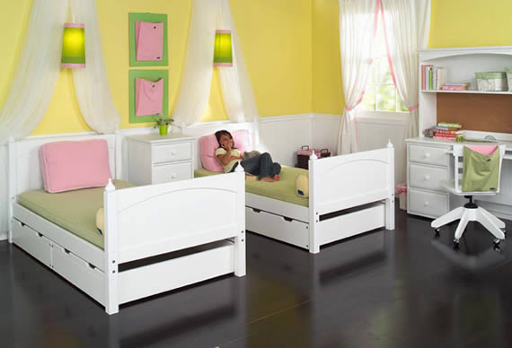 two twin beds from maxtrix bunk bed with underbed storage drawers
