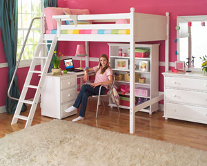 maxtrix high loft bed with desk pink