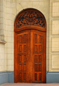 tall mahogany doors
