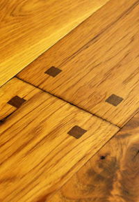 Rehmeyer Old Trail: Hickory Wood Flooring with Wood Pegs and Mocha Accents
