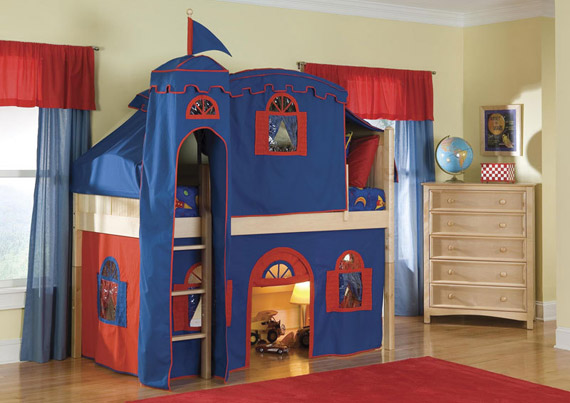 Bennington low loft bed with tower