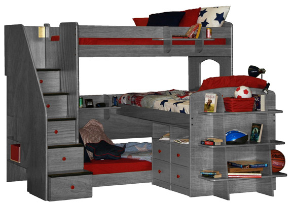 berg triple loft bunkbed in pewter with chest bookshelf