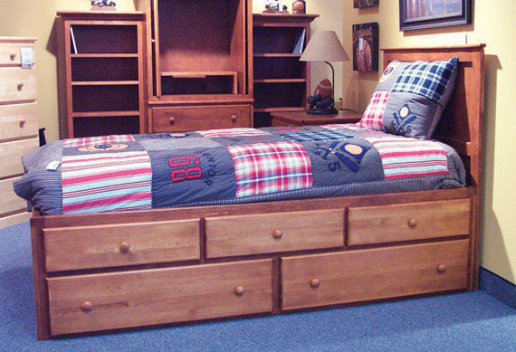 Five drawer storage bed