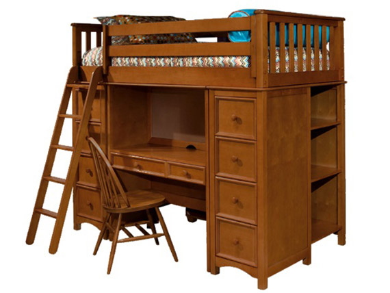 Mission study ladder loft bed