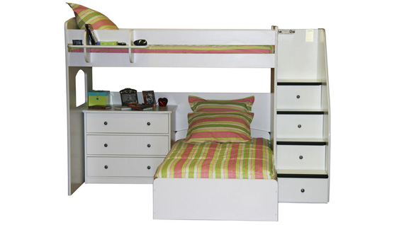 4 step loft twin over twin bed