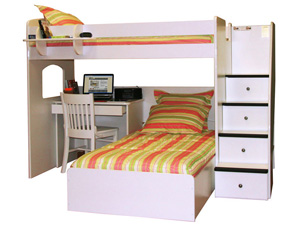 4 step twin over twin study loft bed
