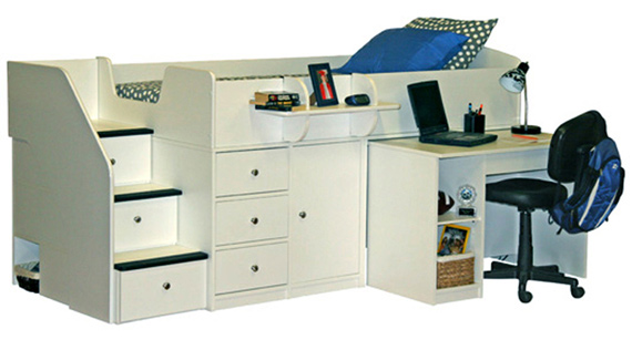 captains bed with pull out desk white