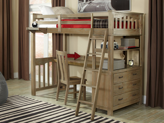 seaview collection loft bed with desk driftwood
