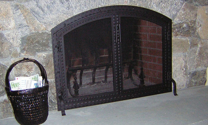 Fireplace Blacksmith Arch Screen with Doors