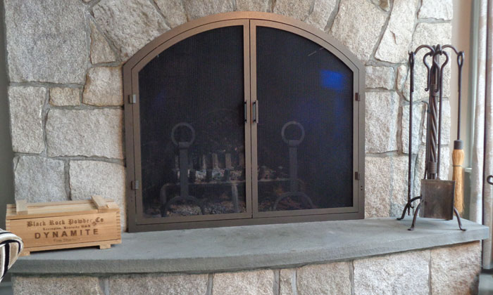 Fireplace Thin Frame Arch with Screen Doors Only