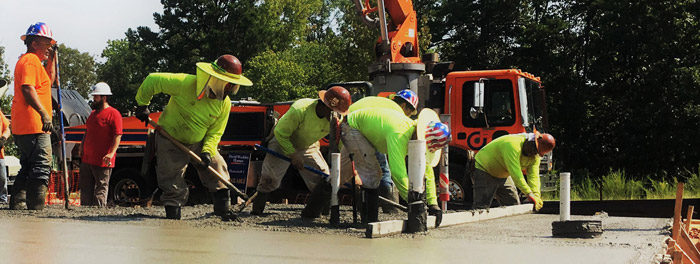 combs concrete construction workers busy