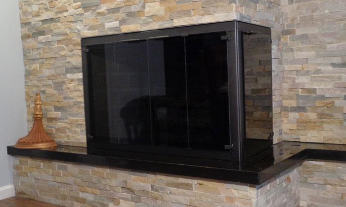 Fireplace Corner Doors in Oil Rub Bronze