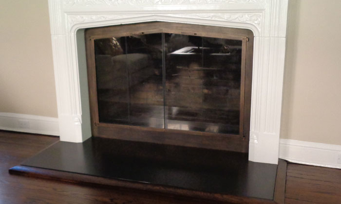 Shallow Fireplace Door Arch in Burnished Bronze