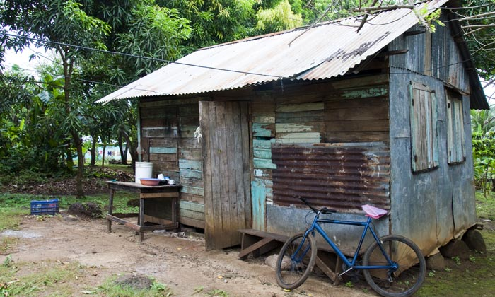 wood cabin with metal roof and bike