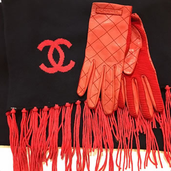 Chanel navy & red fridge scarf and red quilted gloves