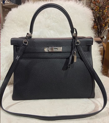 Hermes Black Kelly 32 Retourne in Togo Leather