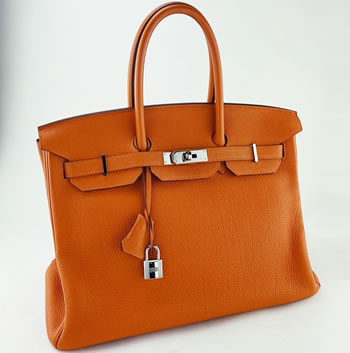 orange hermes 35 birkin in togo leather with palladium hardware