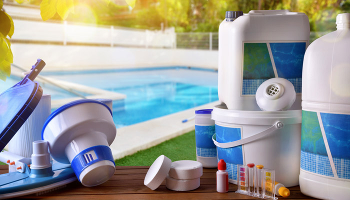 swimming pool filter and chemicals