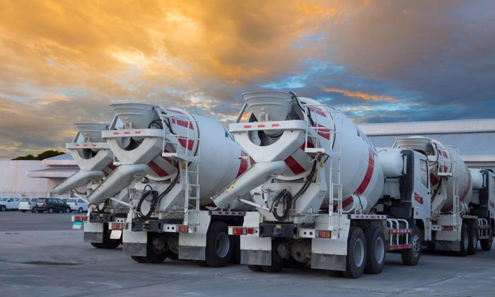fleet of concrete construction trucks