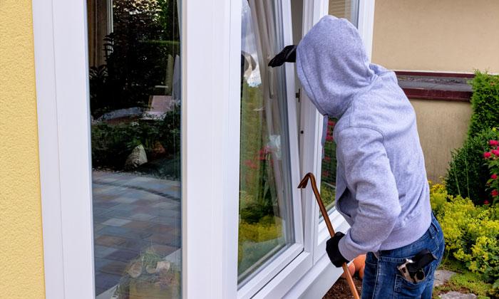 crowbar burglar peering through window