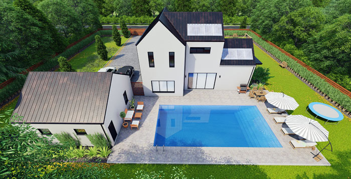 european style house with pool surrounded by trees