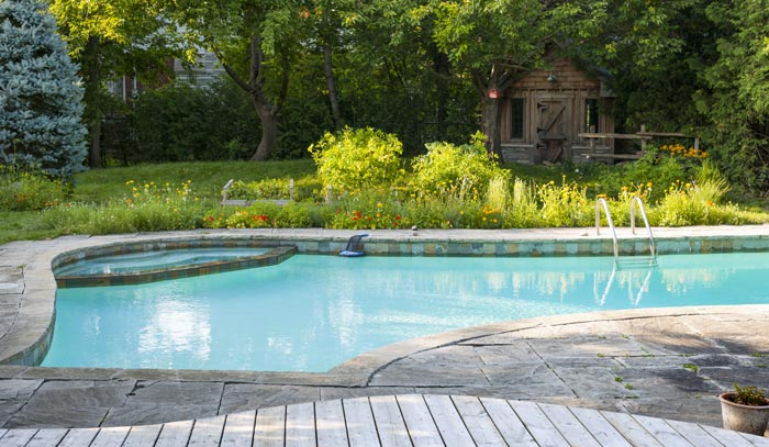 Backyard pool with smaller separate water section