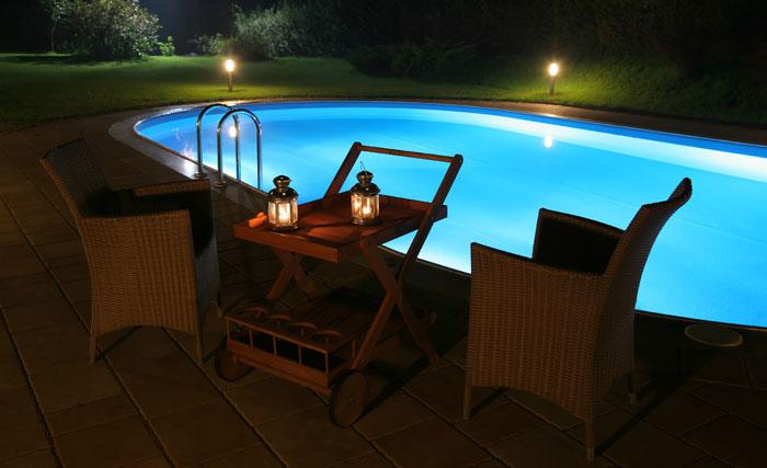 Invting pool in backyard in dark