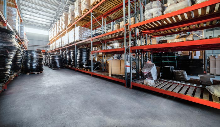 warehouse with shelf storage and sealed concrete floor