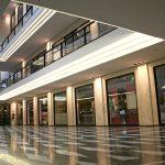 fancy glossy concrete floor in retail building